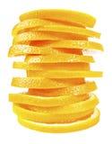 在彼此堆积的橙色切片 库存照片