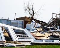 在得克萨斯海岸的强有力的飓风毁坏的家哈维 库存图片
