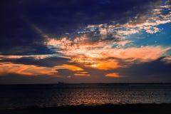 在得克萨斯海湾的日落 免版税库存图片