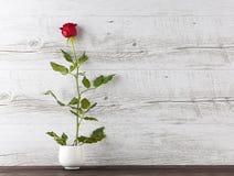 在微小的陶瓷花瓶的唯一红色玫瑰 免版税库存照片