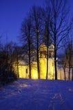 在微明的冬天风景 免版税库存照片