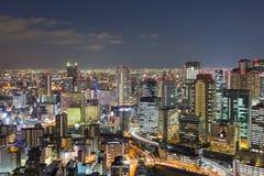 在微明的大阪市街市地平线 免版税图库摄影