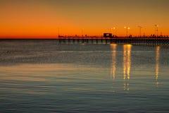 在微明的码头 免版税图库摄影