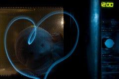 在微波的鬼魂与心脏 免版税库存照片