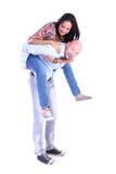 在微笑的白色的背景夫妇愉快的爱 库存图片