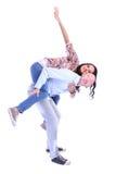 在微笑的白色的背景夫妇愉快的爱 免版税库存图片