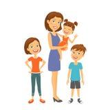 在微笑的白色的系列愉快的孩子母亲 愉快的系列 有子项的母亲 免版税库存照片
