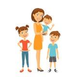 在微笑的白色的系列愉快的孩子母亲 愉快的系列 图库摄影
