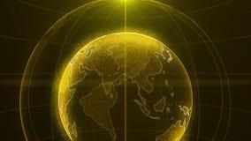 在微粒或小小点的抽象未来派转动的世界地球 真正的广播的现代技术背景 向量例证