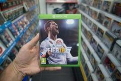 在微软XBOX一控制台的国际足球联合会18计算机游戏 免版税库存照片