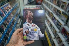 在微软XBOX一控制台的国际足球联合会18计算机游戏 图库摄影