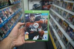 在微软XBOX一控制台的NHL 18计算机游戏 库存图片