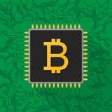 在微集成电路处理器的Bitcoin数字式货币符 库存照片
