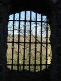 在德国废墟的城堡窗口 免版税库存图片