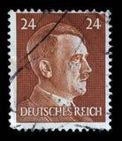 在德国打印的邮票显示阿道夫・希特勒的图象 库存照片
