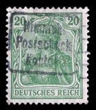 在德国打印的邮票显示Germania讽喻,德国的拟人 图库摄影