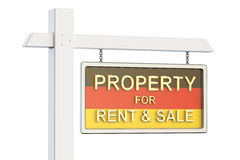 在德国概念的物产待售和租 房地产标志, 库存照片