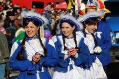 在德国狂欢节Fastnacht的街道队伍 免版税库存照片