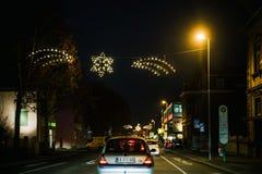 在德国街道上的圣诞节装饰 免版税库存照片