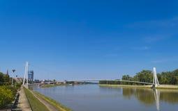 在德拉瓦河的吊桥 库存图片