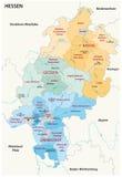在德语的黑森行政和政治地图 免版税库存图片