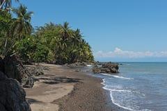 在德雷克海湾的美丽的海滩在太平洋在哥斯达黎加 库存照片