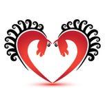 在心脏形状商标的马 库存图片