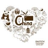 在心脏形状概念的中国标志 免版税库存图片