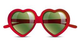 在心脏形状的太阳镜  库存例证