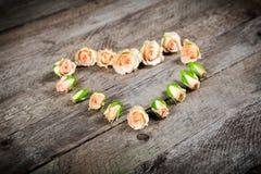 在心脏形状的奶油色桃红色玫瑰芽 免版税图库摄影