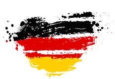 在心脏形状的德国旗子 库存照片