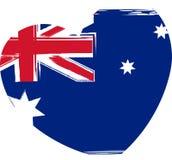 在心脏形状的澳大利亚旗子 免版税图库摄影
