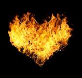在心脏形状的火火焰 库存图片