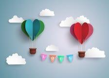 在心脏形状的热空气气球 免版税图库摄影