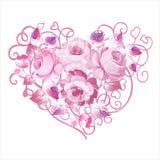在心脏形状的玫瑰 免版税库存图片