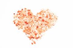 在心脏形状的盐 库存照片