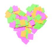在心脏形状的笔记 库存照片