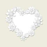 在心脏形状的花卉框架  免版税库存照片