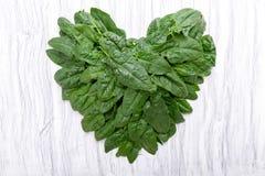 在心脏形状的菠菜 库存图片