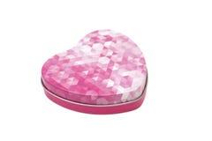 在心脏形状的金属箱子  免版税库存照片