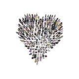 在心脏形状编组人的鸟瞰图  3d翻译 免版税库存照片