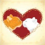 在心脏形状背景的两只心爱的猫 免版税库存照片