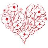 在心脏形状3d版本的庆祝民间花卉刺绣保险开关样式在白色和红色与屏蔽效应由东部启发了 免版税库存图片