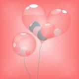 在心脏气球里面的球形轻快优雅 免版税图库摄影