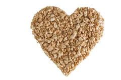 在心脏的形状的织地不很细大豆蛋白粒子 库存图片