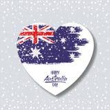 在心脏的澳大利亚旗子在与五彩纸屑的轻的背景中 皇族释放例证