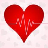 在心脏的背景的心电图 免版税库存图片