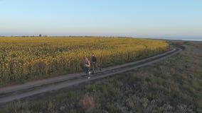 在心脏训练,顶视图期间,在油菜籽开花的草甸附近跑步户外,年轻体育人和沿路的妇女奔跑 股票录像