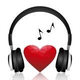 在心脏象传染媒介的音乐 免版税库存图片