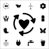 在心脏象的圈子的箭头 网和机动性的生态象全集 皇族释放例证